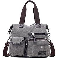 Gindoly Damen Canvas Handtasche Groß Modisch Umhängetasche Multi Tasche Schultertasche Hobo für Reisen Schule Shopping…
