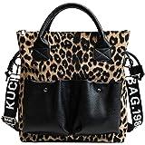 Tisdaini® Donna Borse a mano Leopardato moda PIÙ grande capienza Borse a spalla Borse a tracolla Borse Tote Cachi