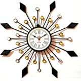 Handi craft gifts Wooden Iron Flower Modern Design Silent Classroom Kitchen Wall Clock (20 inch, Black)