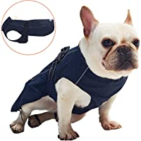 Pro Plums Dog Raincoat Adjustable Lightweight Jacket with Reflective Straps Buckle and Harness Hole Best Gift for Large Medium Small Puppy Dog (S, Navy Blue)