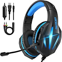 Cuffie per ps4 con Microfono, Cuffie da Gaming PC Bass Stereo, 3.5mm Jack LED Cuffie Gaming USB per PS5/Xbox One…