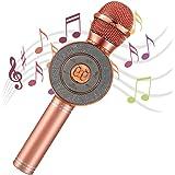 AGPTEK Micrófono Karaoke Bluetooth, 4 en 1 Micrófono Inalámbrico Karaoke Portátil con Altavoces y Luces LED, Grabador, Ideal