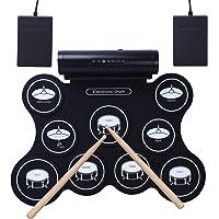 Batterie Electronique Roll Up Tambour avec Pad de Percussion et Stick Portable Etanche Parfaite pour Débutants (Enfants Ados Adultes)