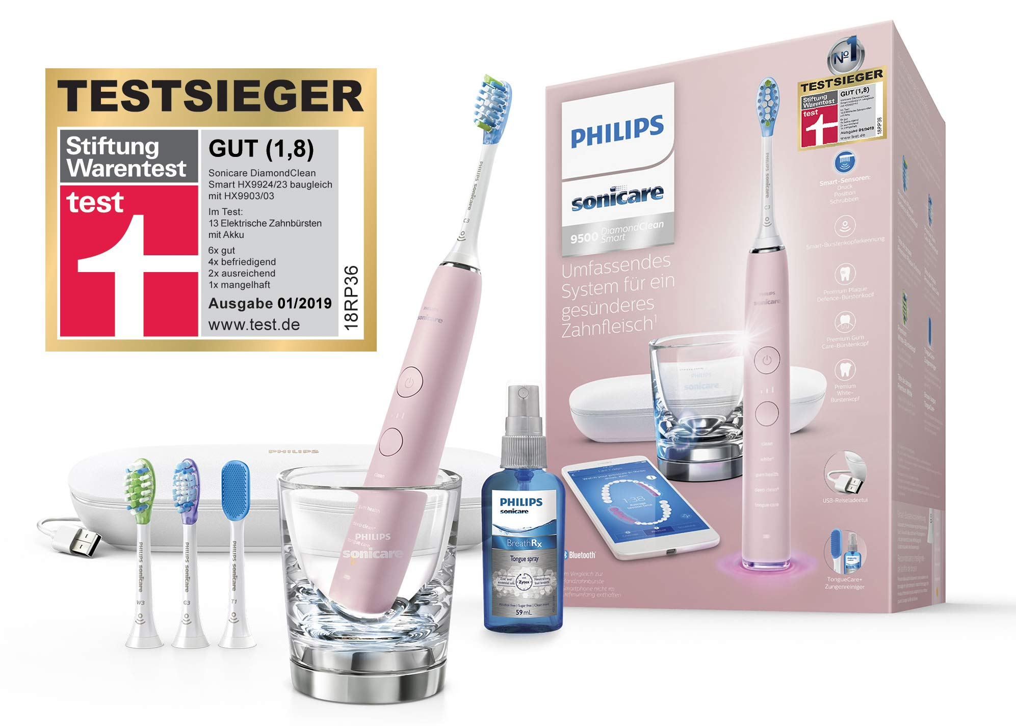 Philips Sonicare HX9924/23 DiamondClean Smart Schallzahnbürste mit 5 Putzprogrammen, 3 Intensitäten, Ladeglas, USB-Reiseetui & 4 Bürstenköpfen – schonendes Putzen dank Drucksensor – Pink
