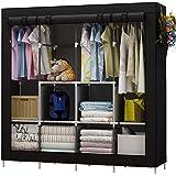 UDEAR Kleiderschrank Einfach aus Stoff Faltschrank Stoffschrank Furniture Bedroom Wardrobes (Schwarz)