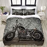 MOBEITI Set Biancheria da Letto,Harley Moto Cool Davidson Vintage Bike Chopper Classic,Set Copripiumino in Microfibra,Matrimo