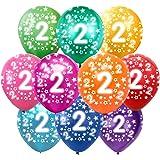 Färgglada ballonger 2 år metallisk 30 st dekoration för 2. Födelsedag pojke flicka, årsdag bröllop fest barn födelsedag födel