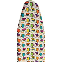 Meded Multicolored Iron Pattern Ironing Board Cotton Cover with Foam Padding, Fits Board Size 108-112cm X 30-34 cm