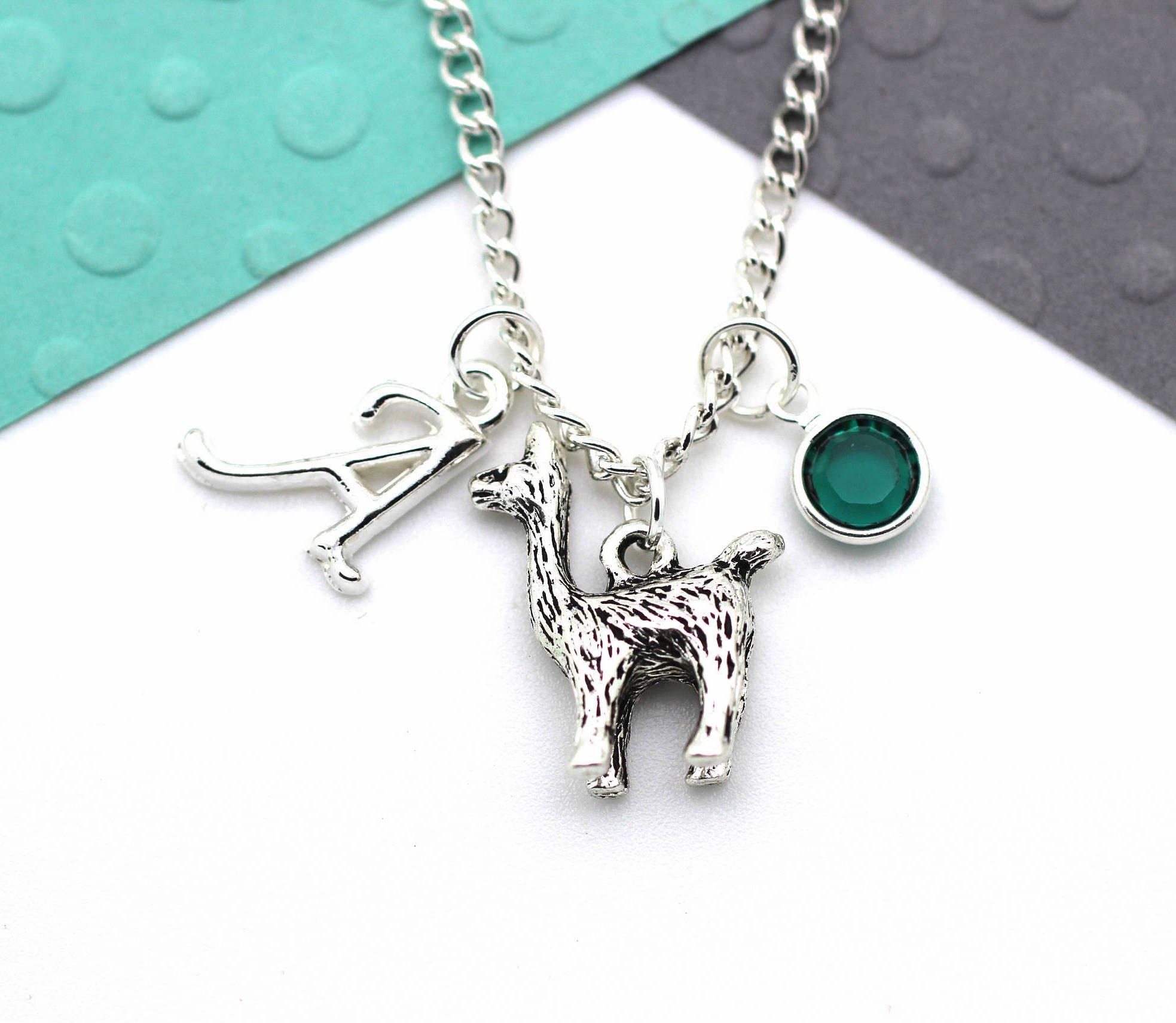 518b25619c0ea Personalised Alpaca Necklace, Llama Custom Charm Initial Necklace,  Personalised Swarovski Birthstone & Name Gift
