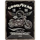 Nostalgic-Art 26224 Goodyear - Motocicleta - Idea de Regalo para Fans de Coches y Motos Retro Cartel de Chapa de Metal, decor