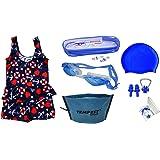 TEMPEST Swimming Kit for Girls | Kids with 1 Swimming Costume | Swim Suit | Swimwear | Swimming Dress Goggles Cap Ear Plug No