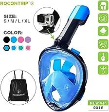 ROCONTRIP maschera subacquea 180° vista panoramica, pieno facciale design,anti-appannamento anti fuoriuscita con cinghie regolabili. Con più snorkeling tubo per uomo donna adulto ragazzo Kid