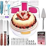 Basuwell Lot de 124 pièces pour décoration de gâteaux avec Plateau Rotatif pour gâteaux et décorations, ustensiles pour Amate