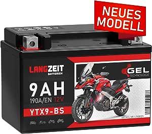 Langzeit Ytx9 Bs Motorradbatterie 12v 9ah 190a En Gel Batterie 12v Doppelte Lebensdauer Entspricht 50812 Ctx9 Bs Etx9 Bs Gtx9 Bs Vorgeladen Auslaufsicher Wartungsfrei Ersetzt 8ah Auto
