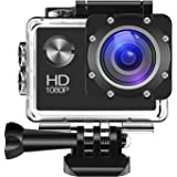 Digital Action Camera 30m Waterproof Sports Camera Cam Camcorders 1080P 2 inch TFT LCD HD 12MP 140 Wide-Angle Lens and Helmet