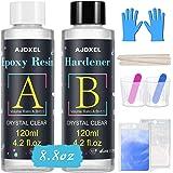 AJOXEL Resina Epossidica Trasparente Atossica 252 g/240 ml, Colla Resina Epoxy con Indurente per Creazione Gioielli Fai da Te