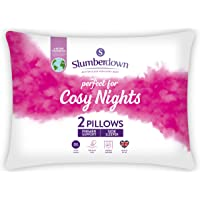 Slumberdown Cosy Nights White Pillows 2 Pack Firm Support Bed Pillows Designed for Back and Side Sleepers