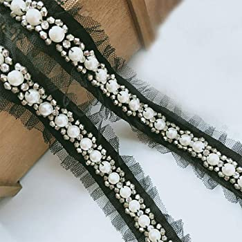 1 Yard Pearl Lace Edge Trim Ribbon with Beads Diamond Mesh Tape 25mm Wide  Vintage Style Black Edging Trimmings Fabric Embroidered Applique Sewing  Craft ... af159ff13917