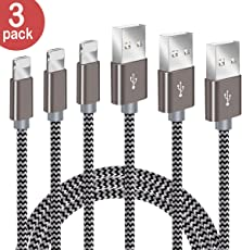 IPhone Ladekabel BECASO 3*1.5M Nylon Lightning USB Kabel für Apple iPhone X 8 7 SE 6S 6 5 5C 5S Plus iPad Mini Air Pro(Grau)