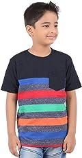 BodyGlove Boy Kids Casual Round Neck Striped T-Shirt, Half Sleeve, Cotton