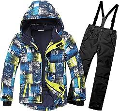 OMSLIFE Kinder Skianzug Skijacke Skihose Regenlatzhose Verdickung Lang Jacket Wintermantel Mantel