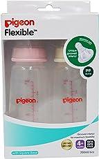 Pigeon Peristaltic Nursing Bottle Twin Pack (Pink/White) - 200 ml