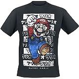 Super Mario Mario - Kanto Hombre Camiseta Negro, Vintage Regular