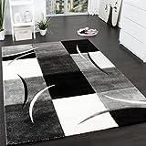 Paco Home Tapis De Créateur Aux Contours Découpés à Carreaux en Blanc Noir, Dimension:120x170 cm