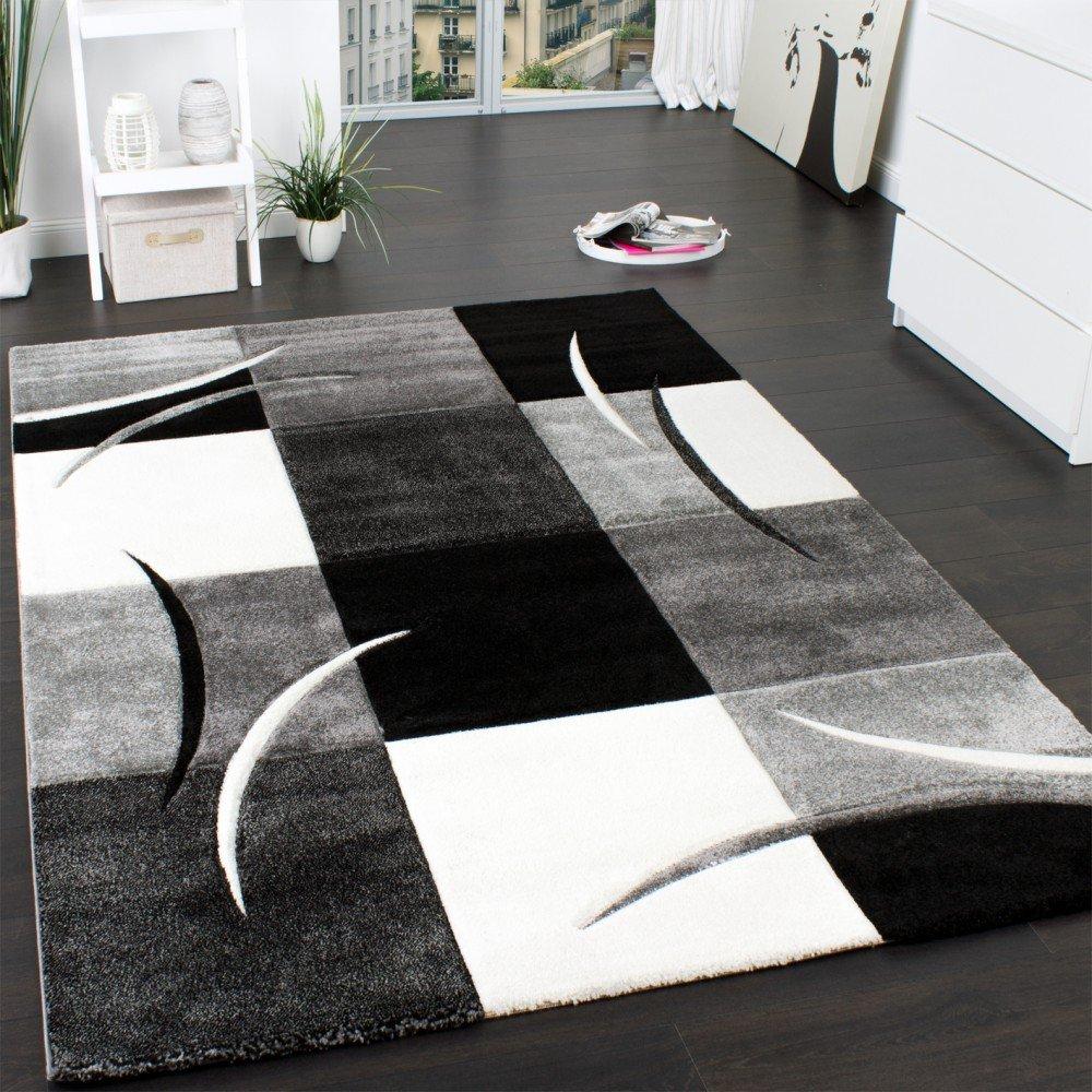 designer teppich mit konturenschnitt muster kariert in schwarz ... - Wohnzimmer Schwarz Grau