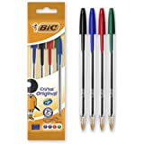 BIC Cristal Original Ballpoint Pens - Assorted Colours - Pack of 4 - Medium Point (1.0 mm) Easy-Glide and Long-Lasting…