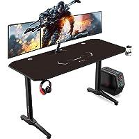 AuAg Gaming Tisch 140 cm, Groß Gaming Schreibtisch for PC Ergonomischer Gamer Tisch, Schwarz Computertisch mit…