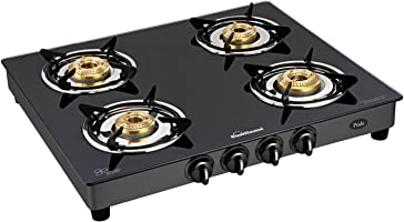 Sunflame GT Pride 4 Burner Glass Top Gas Stove, Black