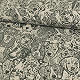 Stoffe Werning Baumwolljersey Hunde grau Modestoffe - Preis