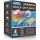 Amazon Brand - Umi Lot de sacs de rangement sous vide, pour économie d'espace, avec pompe manuelle 1sac format extra-large,