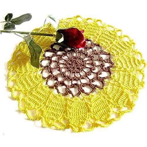 Centrino rotondo girasole giallo e marrone all'uncinetto - Dimensione ø 23.5 cm - Handmade - ITALY