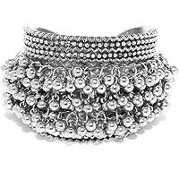Total Fashion Oxidised German Silver ghungroo Cuff Bracelet Traditional kada Bangle for Women (1 pc) Tribal Jewelry…