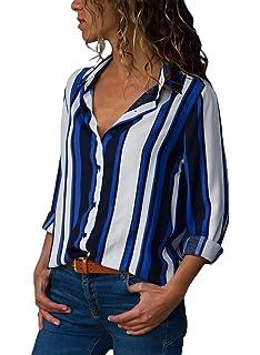 02cf50c7662533 FIYOTE Bluse Damen Elegant Langarmshirt Hemden Oberteil Tops Shirt Chiffon  Asymmetrisch Langarm Tops Oberteile Hemd Blau
