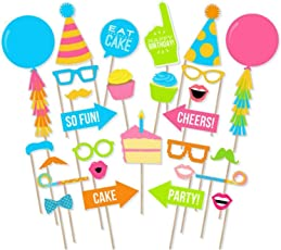 Party Propz Happy Birthday Theme Photobooth Props (30 Pieces)/Birthday Party Props