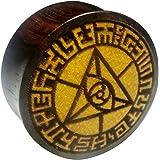 Chic-Net Flesh Plug occhio triangolare, bordo in legno di sono, frutto della giacca, dilatatore, dilatatore, unisex, marrone