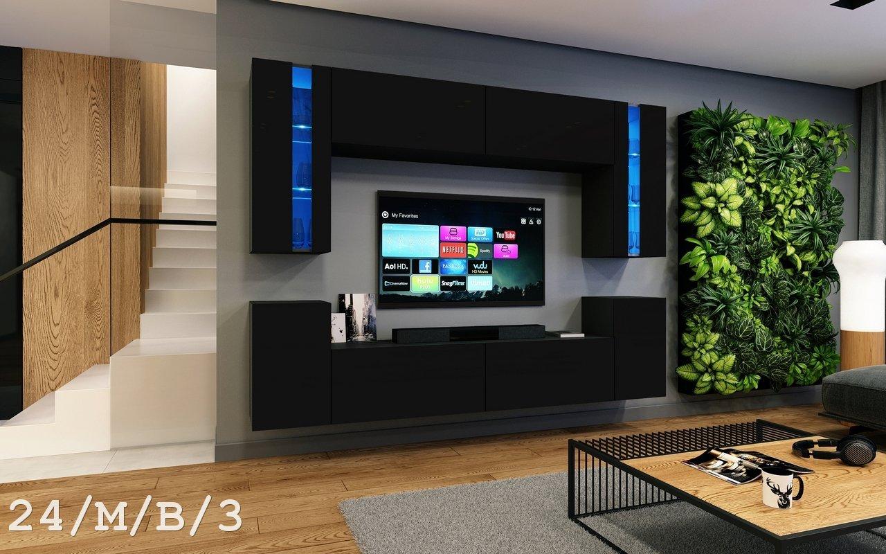 Wohnwand FUTURE 24 Moderne Exklusive Mediambel TV Schrank Neue Garnitur Grosse Farbauswahl RGB LED Beleuchtung Verfgbar 16 Farbig Mit