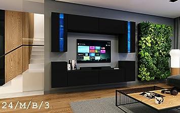 Wohnwand FUTURE 24 Moderne Wohnwand, Exklusive Mediamöbel, TV Schrank, Neue  Garnitur, Große Farbauswahl (RGB LED Beleuchtung Verfügbar) (LED 16 Farbig  Mit ...
