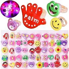 Naisidier Praktische 10pcs Weichgummi Ringe LED Licht Leuchtenden Finger Lights Kinder Spielzeug zufällige Farbe