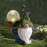 LA Jolie Muse Figurine de Jardin en résine - Tomte à Longue Barbe GNOME de Noël avec Boule de Cristal avec des lumières LED s
