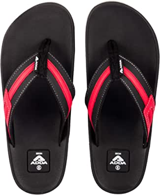 ADDA Men's Black & Red Flip-Flops - 7 UK