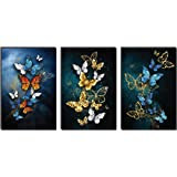SAF Set of 3 Butterfly Large Embossed MDF Framed Panel Painting 36 Inch X 18 Inch PHSX30094