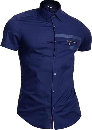 D&R Fashion Mondo Men's Cotton Short Sleeve Shirt Classic Collar Navy Blue Zip Pocket