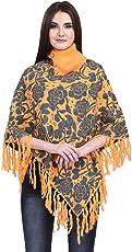 eWools Women's Woollen Winter Wear Poncho (B16_X-Large, Multicolour)