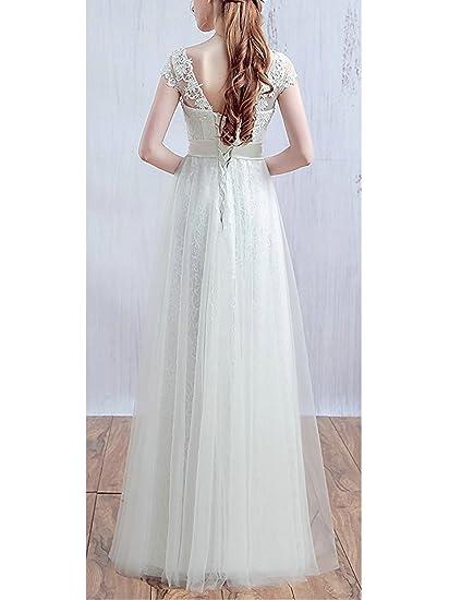 JAEDEN Kappenhülse V-Ausschnitt Ballkleider Prinzessin Spitze Abendkleid  Lang Festkleid Brautjungfernkleid: Amazon.de: Bekleidung