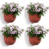 T4U Resin Wall Hanging Planter Basket Brick Red Set of 4, Wall Mounted Garden Plant Flower Pot Container Indoor Outdoor…