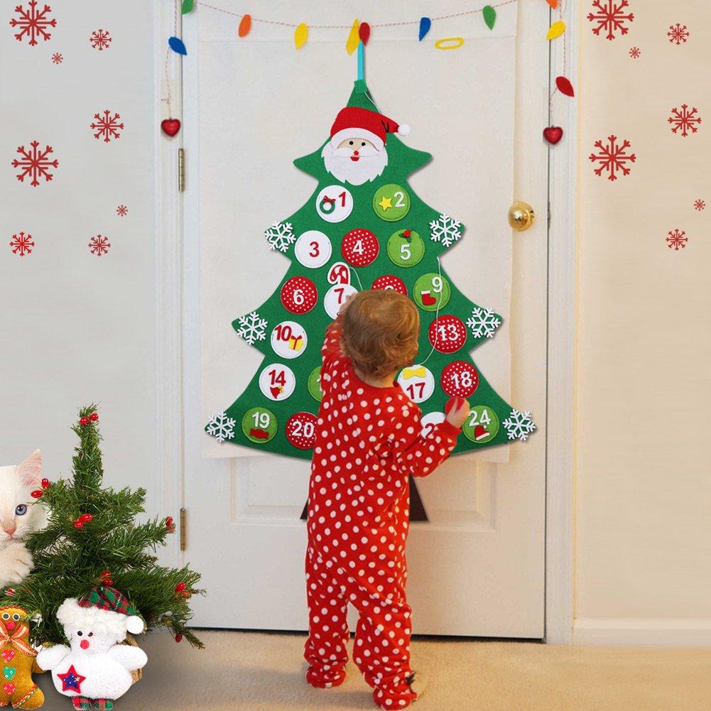 Aytai Felt Christmas Tree Advent Calendar For Kids Countdown To Christmas Calendar Advent For Christmas Door Wall Hanging Decoration Xmas Uk